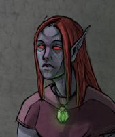 Dunmer with an enchanted amulet by PlaviGmaz