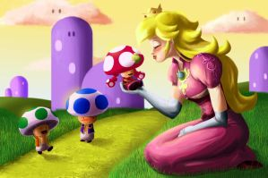 Peach and Toads by bahferretboy