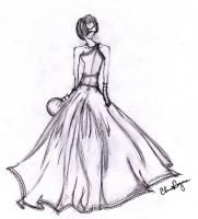 Ball Gown Sketch by cjrogers1993