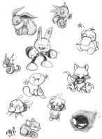 Big Page 'o' Pokemon Sketches by spookydoom