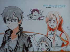 (SAO) Kirito, Yui, and Asuna by mochkholik25