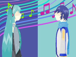 Miku and Kaito - Box Ghost Twin Base by Miserable-in-Orange