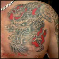 Gary's Dragon Healed by Reddogtattoo