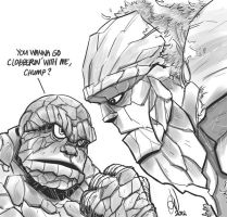 The Thing and Tiny the Stone Giant by alvinsanity