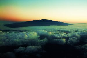 Mauna Kea from the airplane by Rckstrkd