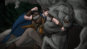 Wulfgard: Caiden vs. Mountain Troll by Saber-Scorpion