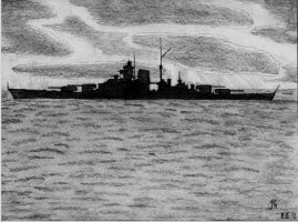 Lone Hunter - Battleship Bismarck by AnAspieInPoland