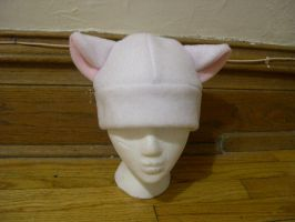 White and baby pink Kitty hat by kittyhats