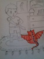 baby George and the dragon WIP by Chabbie