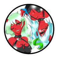 Scanty and Kneesocks Button by Cat-Trouble