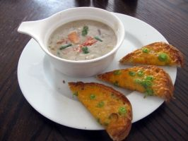 Crab bisque and cheese toast by chrisravensar