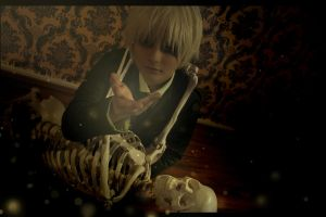 Hetalia - England and the skeleton by SharyNyanko