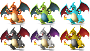 Charizard SSB4 Recolors by shadowgarion