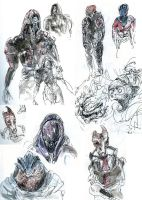 Mass Effect 2 (life sketches) by Malicious-Monkey