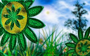 PETAL'S: Fractal Green Sunflower's by CSuk-1T