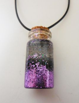 Purple and Black Glitter Bottle Charm Necklace by crystalcorgiboutique