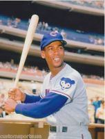 Ernie Banks batting by slr1238