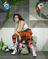 Portal 2: Chell is chillin by SeaGerdy