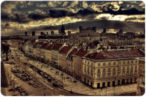 Warsaw old town cityscape by cluesex