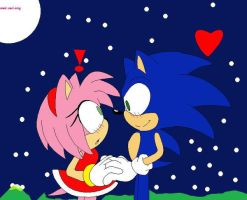 sonic holds amy's hand by sonamyfan3211