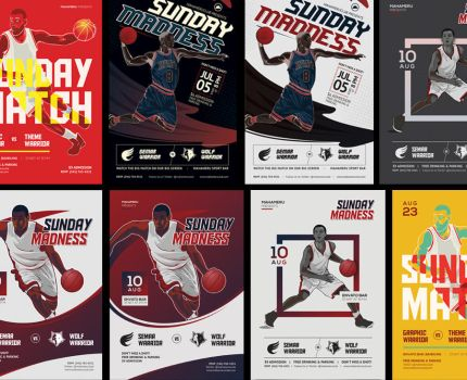 Basketball Match Flyer Bundle Download by caffeinesoup