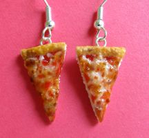 Cheese Pizza Earrings 2013 by LittleSweetDreams
