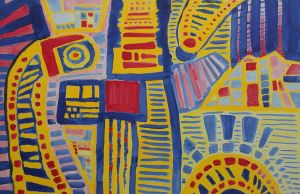 Primary colors abstract geometrical painting by sofmer