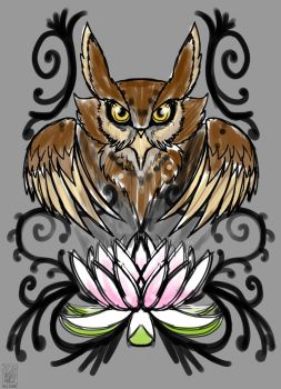 Owl and Lotus Flower by haloowl
