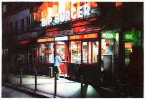 nighthawks parisien- ball point pens on paper by paoloamico87