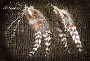 Striped Feather Earrings by Aeltari