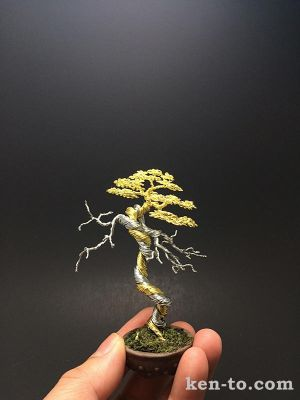 Two-tone deadwood wire bonsai tree by Ken To by KenToArt