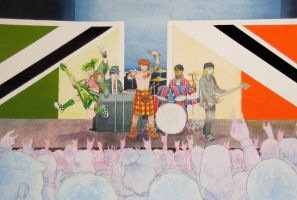 Euro rock band painting by silentsketcher