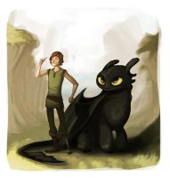 hiccup and toothless by starsandpolkadots
