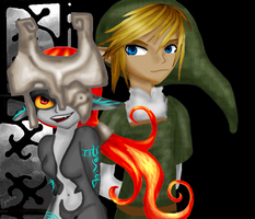 Midna and Link by Fyrelinx