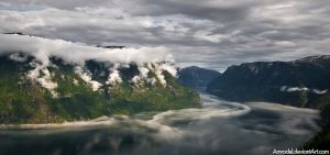 Clouds in Fjord by amrodel