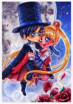 Sailor Moon and Tuxedo Mask by Saayi--san