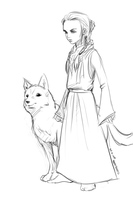 Arya Stark, Wolf, quick sketch by salva-nos