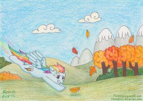 Chasing Leaves: Rainbow Dash by FinnishFox