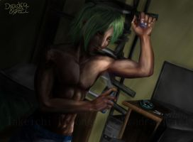Morning Hours - Takeichi applying deodorant by Dradra-Trici