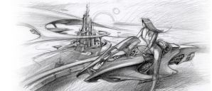 Futuristic City Pencil Sketch by cklum