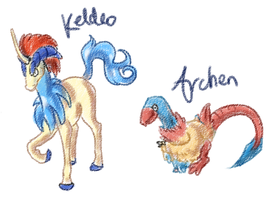 Keldeo and Archen by Capsicles