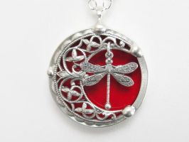 Stained Glass Pendant Necklace by JasGlassArt