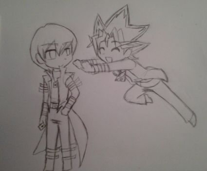 Kaiba and Yugi Chibis :D by SazukaXDeidara4Ever