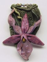 Polymer Purple Orchid Pendant by wildhorse63