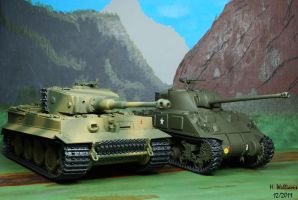 Tiger I and Sherman Firefly VC by 12jack12