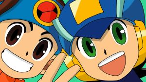Lan and MegaMan Close-Up wallpaper by MegamanXstream