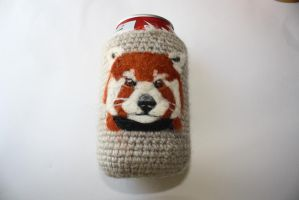 Red panda can koozie by Crystalcat1989