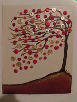 Button Tree Acrylic Painting by kymtacullar