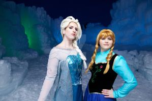 Elsa and Anna at Ice Castle by Silver-Fyre