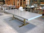 Minimalist Stainless Steel Trestle Table patinated by ou8nrtist2